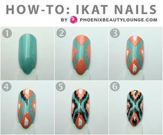 How-To IKAT nails, super easy and cute! China Glaze Aquedelic China Glaze Peachy Keen black and white nail plolish