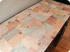 Image Detail for - Decoupage vintage postcard desk makeover. Decoupage Desk, Decoupage Vintage, Decoupage Furniture, Coffee Table Desk, A Table, Desk Makeover, Desk Redo, Vintage Lettering, Diy Furniture