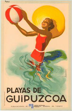 Playas de Guipúzcoa Spain. Vintage travel Beach poster