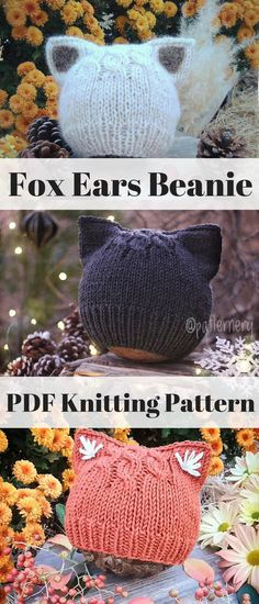Simple Kitten or Fox Ears Beanie Knitting Pattern. Make a wonderful handmade gift or something comfy and unique for you little one or yourself.. #beanie #ad #etsy #knittingpattern