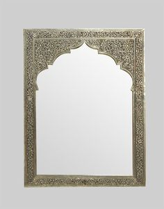 Hand Chiselled Silver Moroccan Mirror - Nickel Finish