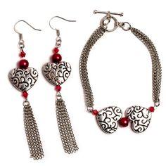 Shared Hearts Bracelet And Earring Set