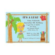 Hula Blonde Girl Luau Birthday Invitation by kidsgalore