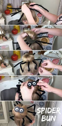 DIY Halloween Hairstyles Spider Hair Bun Tutorial Is Super Easy! DIY Halloween Spider Hair Bun Tutorial Is Easy and Inexpensive! The post DIY Halloween Hairstyles Spider Hair Bun Tutorial Is Super Easy! appeared first on Halloween Costumes. Diy Halloween Spider, Diy Halloween Decorations, Halloween Make Up, Halloween Treats, Halloween Pumpkins, Halloween Tutorial, Costume Halloween, Spider Halloween Costume, Emoji Costume