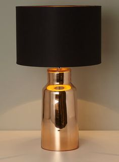 BHS // Illuminate Atelier // Lester Table Lamp // Electroplated copper gold glass bottle lamp with a black drum shade