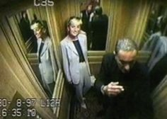 Princess Diana, left, is seen in a frame grab from a closed circuit video footage shortly before the fatal crash in Paris August 31, 1997.