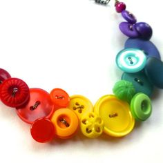 Rainbow Spectrum Button Statement Necklace  by buttonsoupjewelry, $40.00
