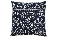 One Kings Lane - Style Your Bed - Mughal 20x20 Cotton Pillow, Navy