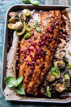 Pan Roasted Pomegranate Glazed Salmon: simple is often best, that's this salmon, made with a delicious tangy sauce...so easy, so good! @halfbakedharvest.com