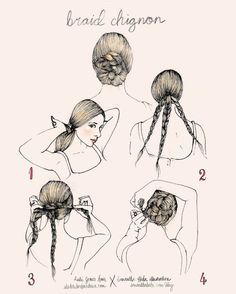 1. Start with a loose, low ponytail that is covering your ears.  2. Divide your ponytail into three sections and create three braids.  3. Wrap your braids around your ponytail and create a small, flat bun.  4. Pin the braids into place using strong bobby pins.