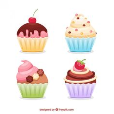 Tasty Cupcakes Free Vector