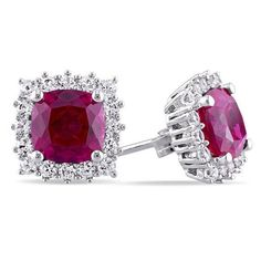 Zales 6.0mm Lab-Created Ruby and White Sapphire Frame Stud Earrings in 10K White Gold G6Hvfsn