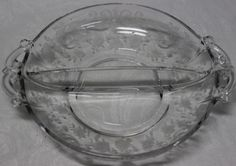 Pressed Glass Divided Dish Bowl, Etched Flowers Roses, Fancy Double Handle 7""
