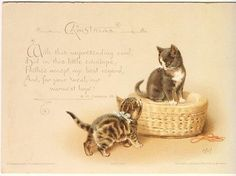 VICTORIAN CHRISTMAS CARD TWO KITTENS HELENA MAGUIRE H&F