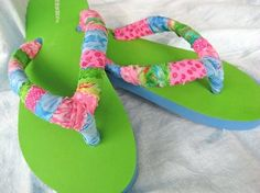 fabric wrapped green and pink flip flops