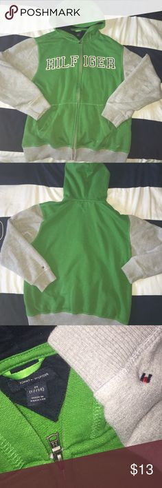 Boys tommy hilfiger hoodie Gently used boys size 12-14 Tommy Hilfiger hoodie grey and green with navy blue and white letters Tommy Hilfiger Shirts & Tops Sweatshirts & Hoodies