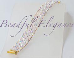 Wave Pattern Snake Look Woven Beaded Bracelet by BeadfulElegance