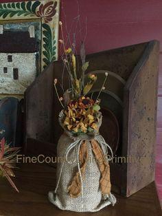 Primitive Colonial Fall ~ Sunflower Twigs Flowers Burlap Jar ~ Made In USA… Primitive Fall, Primitive Country, Primitive Decor, Grapevine Wreath, Grape Vines, Colonial, Burlap, Decor Ideas, Jar