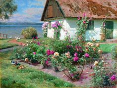 Landscape Paintings by Danish Artist Peder Monsted; cottage by the sea with roses Cottage Art, Cozy Cottage, Cottage Style, Cottage Gardens, Paintings I Love, Beautiful Paintings, Illustration Art, Illustrations, Figure Painting