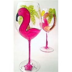 Flamingo on a wine glass.