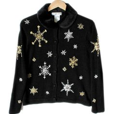 Blingy Snowflakes Fur Collar Tacky Ugly Christmas Sweater