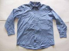 GEOFFREY BEENE Long Sleeve Men's Shirts Size-L Blue Very Good!  #GEOFFREYBEENE