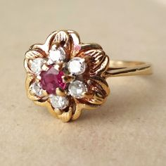 Vintage Ruby and Diamond Flower Ring, 9k Gold Diamond & Ruby Engagement Ring, Approx. Size US 3.25