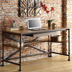 modern+industrial+home+decor+++modern+industrial+writing+desk+++wood ...