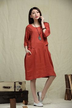 loose fitting caftan dress Linen Shift Dress in von camelliatune, $89.00