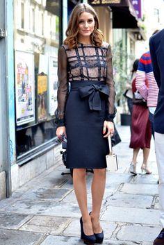navy pencil skirt, statement sheer blouse