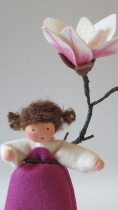 Magnolia Flower doll Nature table Waldorf by KatjasFlowerfairys