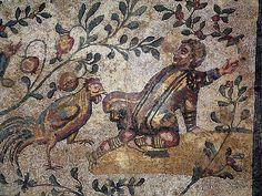 Roman Mosaic. Boy and Rooster   #roman #mosaic