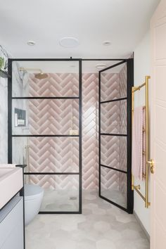 The Hoover Building Bathroom - Mad About The House - West One Bathrooms DIESEL Shades of blinds in PINK in herringbone pattern - House, Home, Shower Room, Bathroom Design Styles, Pink Bathroom, Bathrooms Remodel, Bathroom Decor, Bathroom Inspiration, Hoover Building
