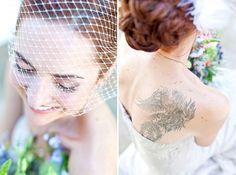 tatooed brides ... make it a part of your look! #tatooedbrides #photographybyclairenicola #redheadbride