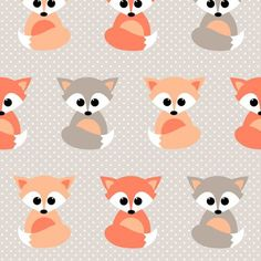 MADE TO ORDER - Fitted Cot / Crib sheet Baby Foxes Polkadot