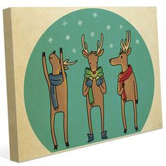"""Click Wall Art 'Reindeer Games Team' Graphic Art on Wrapped Canvas Size: 11"""" H x 14"""" W x 1.5"""" D"""