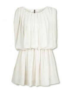 Beige Round Neck Sleeveless Pleated Chiffon Dress #Chiffon #Dress