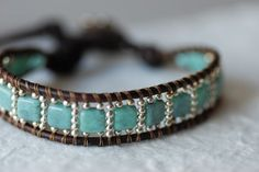 Turquoise Tile Leather Bracelet Ceramic by EntwyneDesigns on Etsy