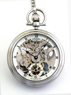 Turn back the hands of time with this pocket watch that is a beautiful keepsake for young men and older men alike. Skeleton Mechanical Watch, Skeleton Pocket Watch, Mechanical Pocket Watch, Skeleton Watches, Silver Pocket Watch, Pocket Watch Tattoos, Armani Watches, Luxury Watches, Rotary Watches