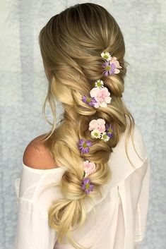 wedding hairstyles with flowers loose braided hairdo with flowers styles_by_rene. Wavy Wedding Hair, Beach Wedding Hair, Long Wavy Hair, Wedding Hair Flowers, Flowers In Hair, Wedding Bride, Wedding Updo, Wedding Dresses, Box Braids Hairstyles