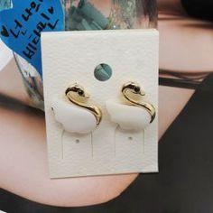 Chic Sweet Graceful Shell Embellished Swan Shape Stud Earrings For Women