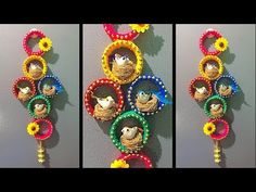 DIY Coconut fibre craft idea/old bangles craft idea / Best out of waste/woolen wall hanging idea - YouTube
