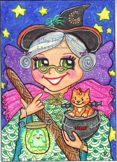 ACEO Original Joy Orange Tabby Cat Kitty Witch Fairy Bat Ghost Star Spider Broom #Miniature