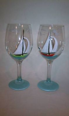 Hand Painted 20 Ounce Sailboat Wine Glass. $12.00, via Etsy.