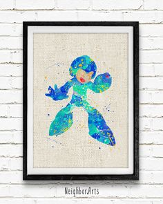 Rockman Poster, Mega Man Watercolor Art Print, Kids Decor, Wall Art, Home Decor, Not Framed, Buy 2 Get 1 Free!