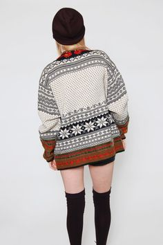 Vintage Norwegian FOLK Sweater White Ethnic by LotusvintageNY White Sweaters, Sweaters For Women, Sonia Rykiel, Missoni, Norwegian Knitting, Scandinavian Pattern, Fair Isle Pattern, Fair Isle Knitting, Oversized Cardigan