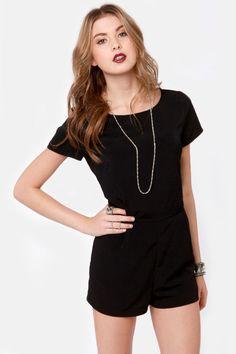 Cute Black Romper - Short Sleeve Romper