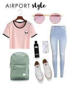 """airport"" by valeriapatriciamosquera on Polyvore featuring H&M, Converse, Herschel Supply Co., Sheriff&Cherry, GetTheLook and airportstyle"