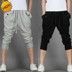 New Summer Style Indoor Foot beam Boys Black grey Drawstring Hip Hop Traning Track Pants Men Cropped Trousers Bottoms