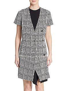 Proenza Schouler Bouclé Basket-Print Dress - Black - Size 6